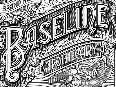 Baseline Apothecary bottle skateboard etching label vintage lettering typography type illustration