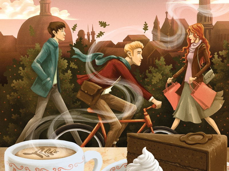 Vienna people skyline editorial bicycle city cake coffee character vienna texture digital painting illustration