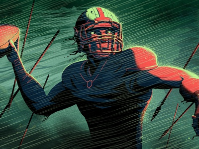 The Battlefield art dark retro color glow nfl painting drawing sport football character illustration