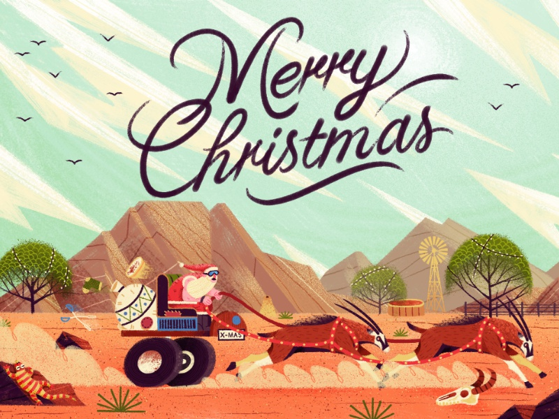 Making dust sky antelope retro santa lettering typography painting drawing landscape xmas character illustration
