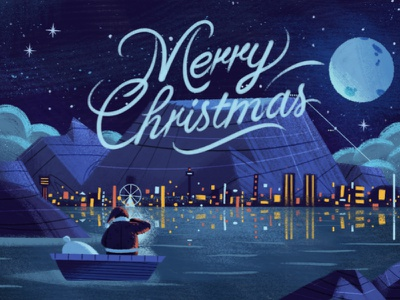 Cape Town lights xmas typography sky santa retro painting lettering landscape illustration drawing character antelope