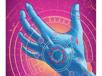 KPMG editorial drawing hacking futuristic technology fingers biohacking hand texture digital painting illustration
