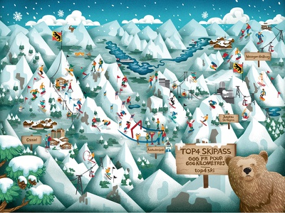 Sonntagszeitung snow resort alps ski signage bear character map texture digital painting illustration