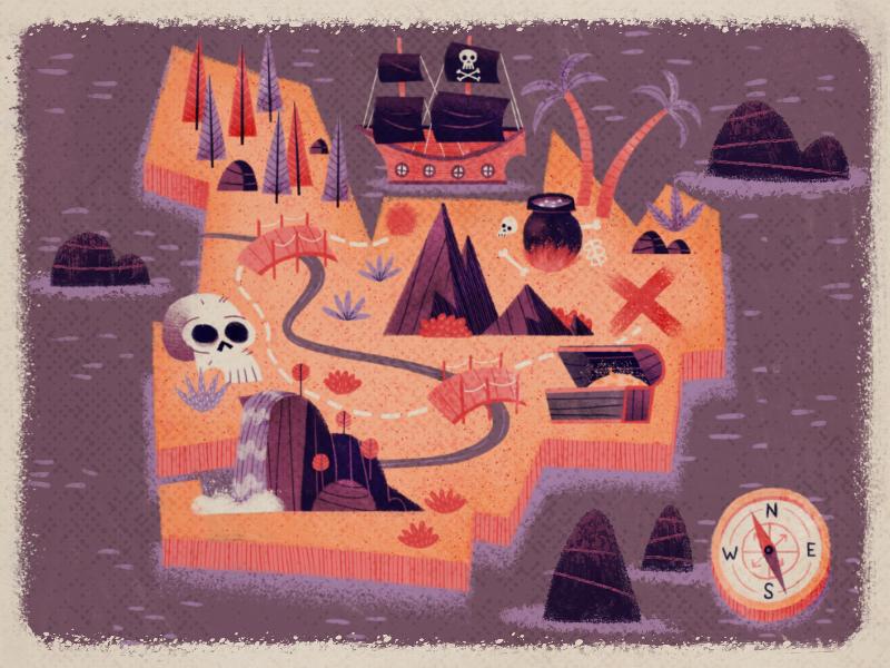 Treasure Map bones chest rocks treasure land water map island skull compass palm ship