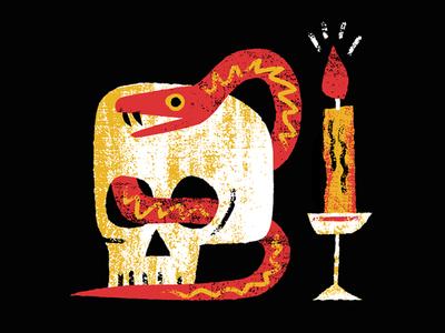 Snek graphic vintage retro editorial texture vector candle dark skull snake character illustration