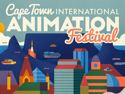 Cape Town International Animation Festival poster mountain city motion gif architecture building animation vector illustration