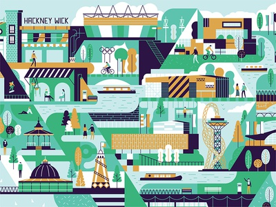 East London olympic boats park trees graphic pattern people characters icons landmark map