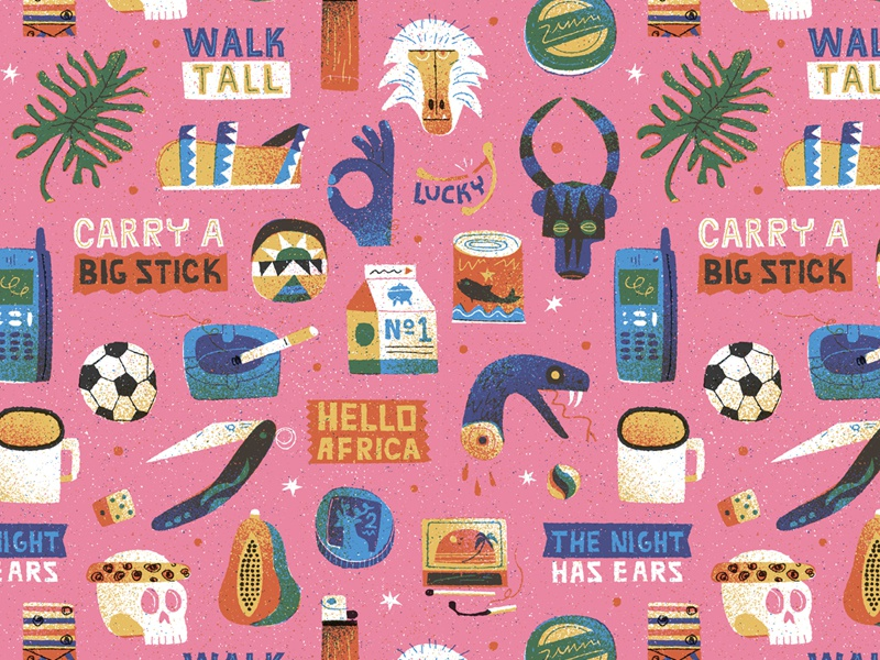 Walk Tall & Carry a Big Stick texture snake retro skull design graphic vector drawing wallpaper pattern character illustration