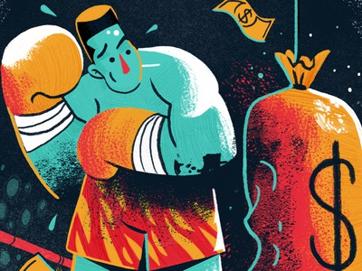 Financial Fitness dollar face retro gloves hair money painting drawing sport boxing character illustration