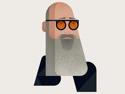 Stipe texture flat rem music bald beard glasses portrait celebrity vector character illustration
