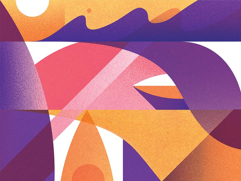 Summer umbrella geometric heat summer surf sun wave texture pattern abstract