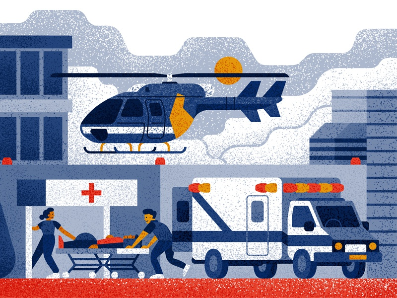 Emergency texture sun clouds people doctors characters emergency hospital helicopter ambulance