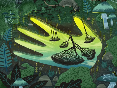 Bulletin Magazine insects leaves plants forest mushroom nature tree character refection hand digital painting illustration