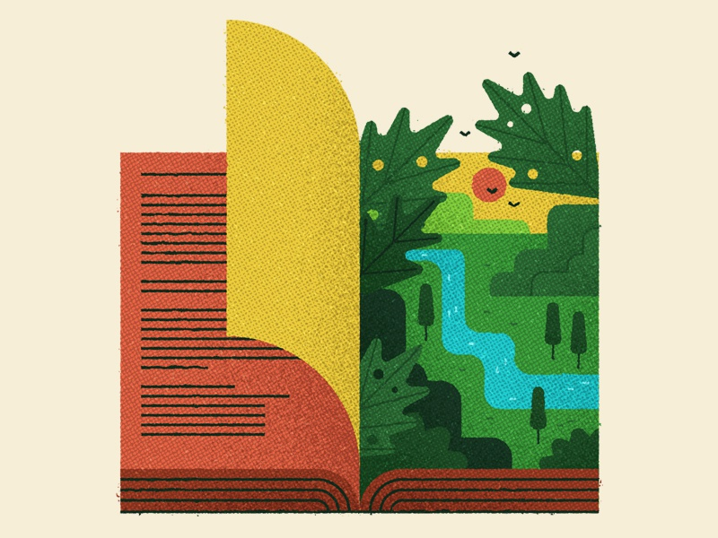 Another World book plants conceptual landscape art editorial flat texture design graphic vector illustration
