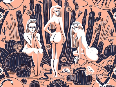 Sirens art landscape retro cactus nude babe painting drawing woman desert character illustration