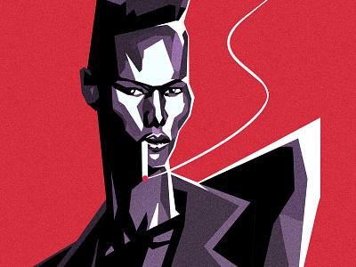 Everpress grace jones rock star musician t-shirt smoke sigarette face character portrait texture digital painting illustration