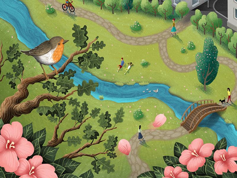 Modus Magazine editorial river leaf city flower park character bird texture digital painting illustration