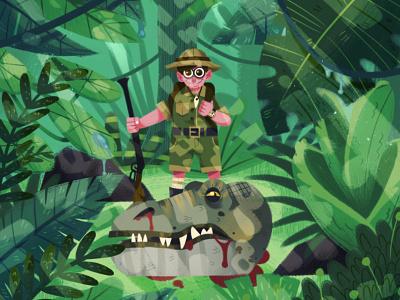 Trophy Hunter head leaves retro gun plant hunt painting drawing dinosaur jungle character illustration