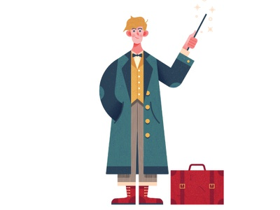 Newt Scamander brief case newt scamander magic jacket wand man person character