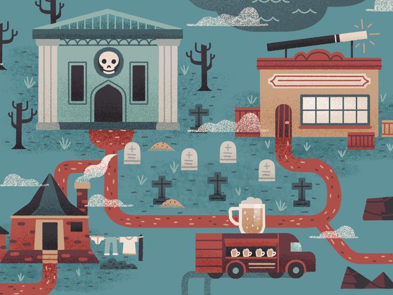 Harry Potter Theme-Park Rides texture vintage retro flat design graphic icon color magic editorial map illustration