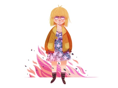 Alyssa uk series retro hair texture rebel painting drawing flames girl character illustration