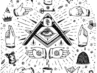 Freemason Friendly t-shirt bee key rays crown eye drawing hands freemason flash sheet tattoo illustration