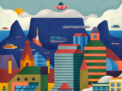 CTIAF poster city motion mountain character design character cape town ufo vector gif animation illustration