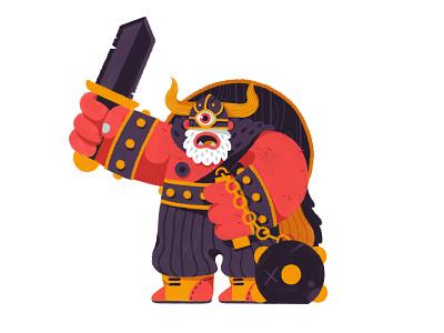 Viclops design beard retro fantasy sword eye painting drawing cyclops viking character illustration