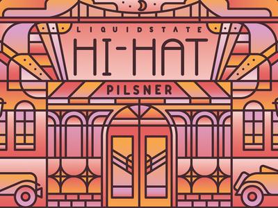 Hi-Hat Pilsner moon bridge typography windows doors club jazz building gradient pattern deco