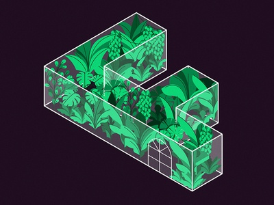 F is for Foliage design graphic typography isometric garden leaves greenhouse glass plants lettering vector illustration