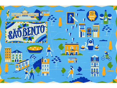 Lonely Planet vector portugal scene people map illustration graphic city character car building