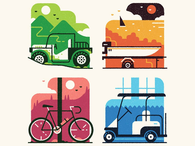 Breakdowns design graphic simple flat editorial texture art transport vector vehicle print illustration