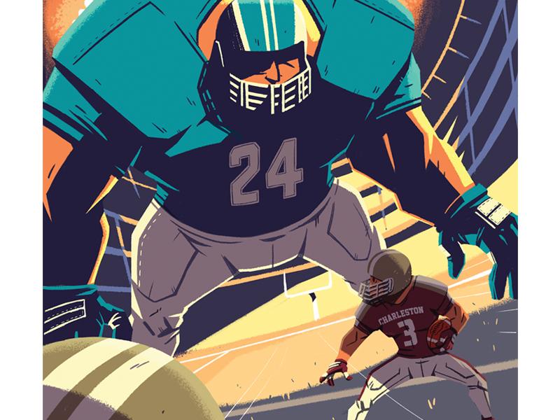 Nowhere to Run drawing helmet giant player lights stadium polls grass field football