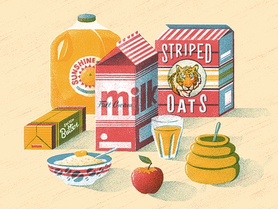 Breakfast of Champions food apple oats porridge retro honey milk packaging juice texture vector illustration
