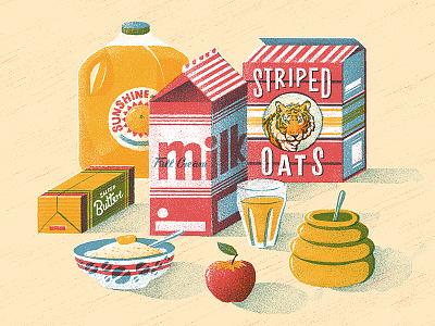 Breakfast of Champions food apple oats porridge retro honey milk packaging juice texture vector illustration