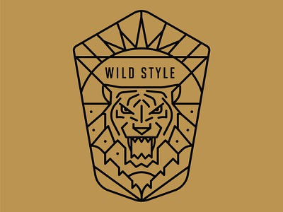 Wild Side dots sun palm leaves tiger rays lineo badge