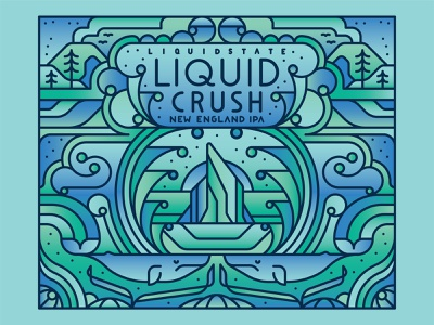 Liquid Crush trees abstract waves whale ocean typography graphic flat vector illustration