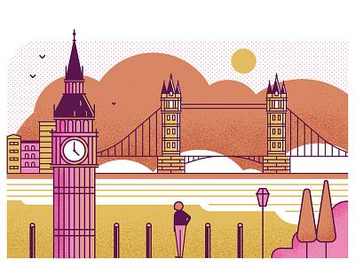 Bike-Share river character big ben london bridge london graphic flat texture vector illustration