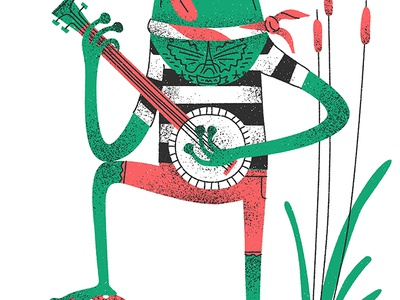 Vagabond french frog design vintage graphic retro flat drawing character vector texture illustration