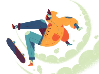 Kick Flop skateboarder trick skateboard texture flat drawing character illustration