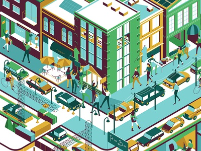 City Scenes character cars isometric illustration people buildings city vector illustration