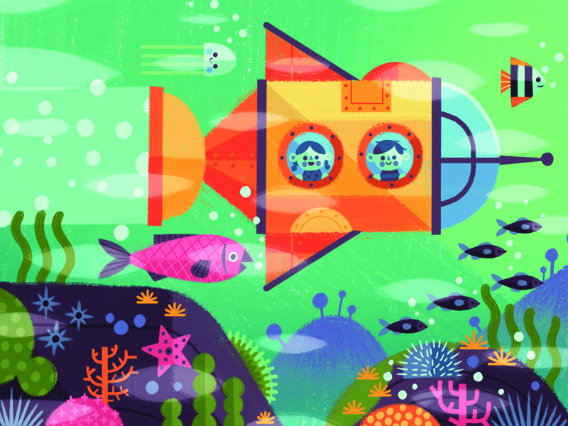 Submarine adventure fish submarine character texture digital painting flat vintage graphic drawing illustration