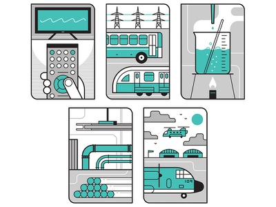Industries media logo transport retro line icon design editorial graphic flat vector illustration