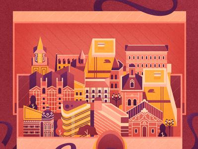 Madrid magazine shoe box decorative illustration vector town city madrid