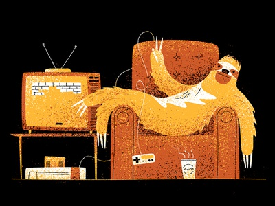 Takin' it easy game digital painting graphic flat design vintage retro drawing character vector texture illustration