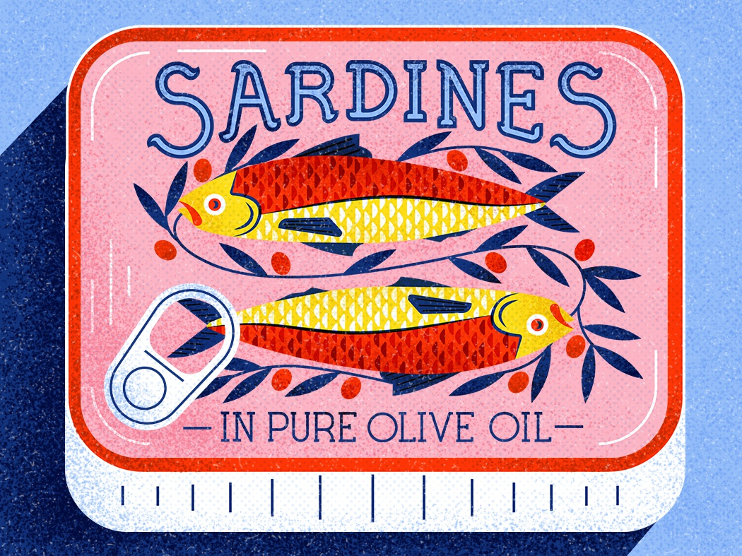 Sardines design leaves olive shadow cant sardines fish texture vector illustration
