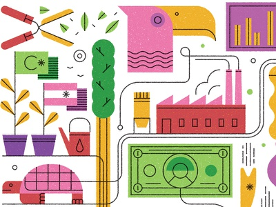 Economics & Investments art pattern icon design editorial retro graphic flat character vector texture illustration