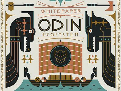 ODIN pattern hammer axe boat flat illustration vector nordic viking norse