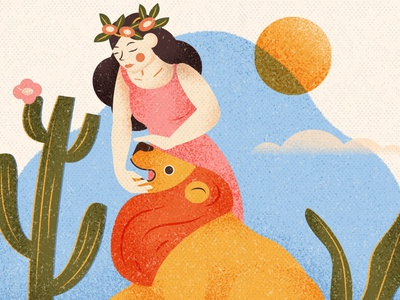 Strength illustration character vector graphic design drawing tarot tarot card lion