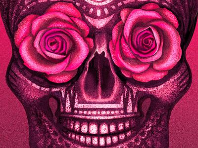 Dia de los Muertos mexico pattern rose day of the dead skull design texture illustration